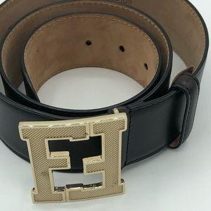 Fendi black leather belt size 34